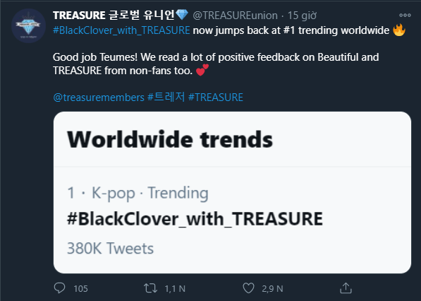 Surprise: Hashtag Black Clover_with TREASURE climbed to the top 1 global trending and was searched by many people