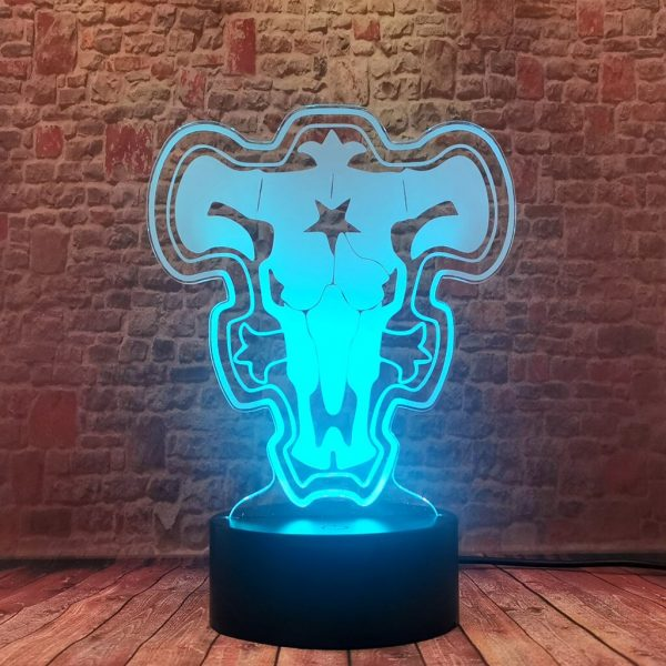 Black Clover 3D Illusion LED Desk Nightlight Colorful Changing Sleeping Lamp Anime action toy figures 5 - Black Clover Merch Store