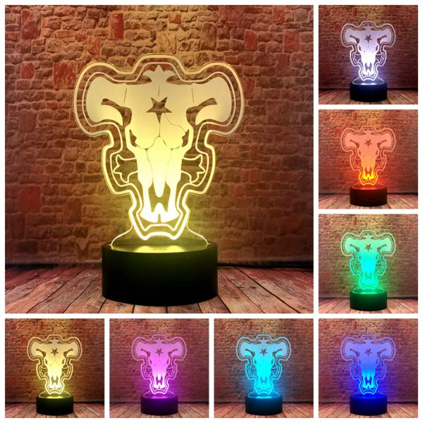 Black Clover 3D Illusion LED Desk Nightlight Colorful Changing Sleeping Lamp Anime action toy figures - Black Clover Merch Store