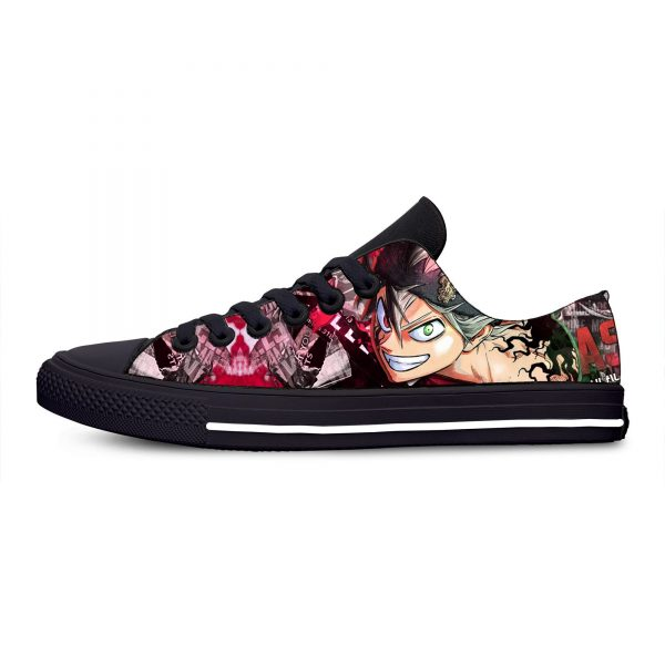 Black Clover Anime Hot Cool Fashion Casual Canvas Shoes Low Top Breathable Lightweight Sneakers 3D Print - Black Clover Merch Store