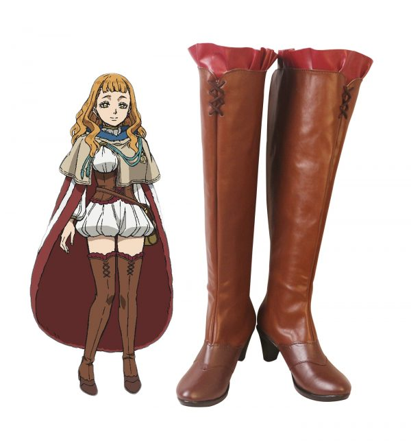 Black Clover Mimosa Vermillion Cosplay Boots Brown Shoes Mimosa High Heel Shoes Custom Made - Black Clover Merch Store