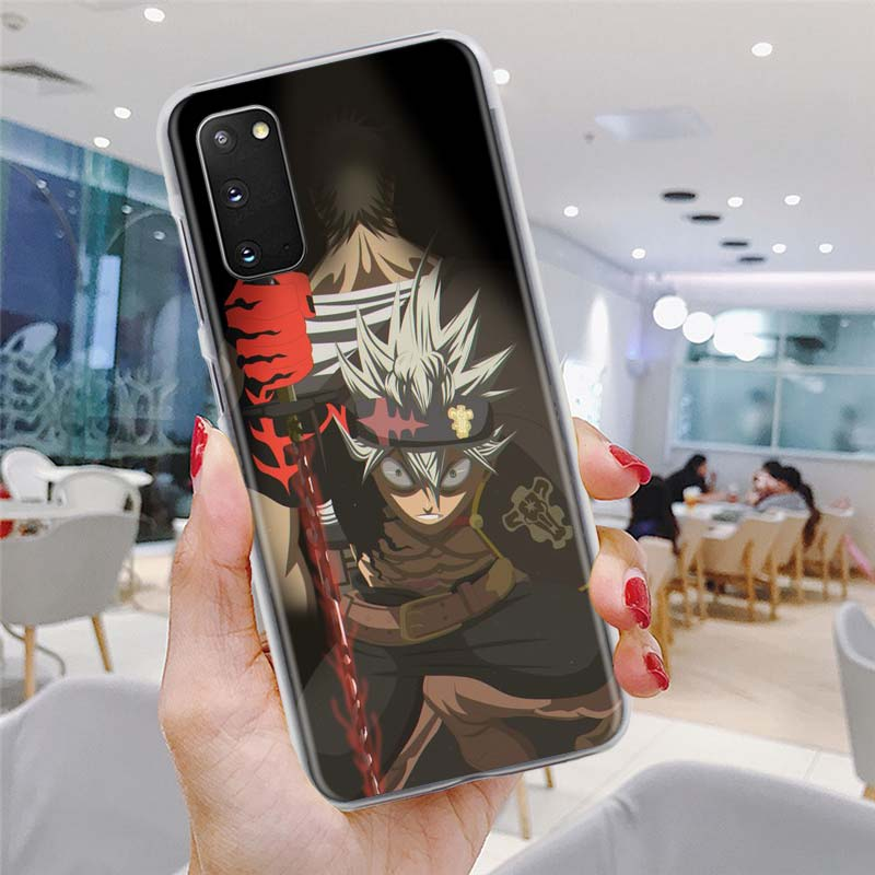 Clear Case for Samsung Galaxy S20 S21 Ultra S10e S10 Lite S8 S9 Plus S10 S20 S21 5G Hard Phone Cover Black Clover Anime Asta